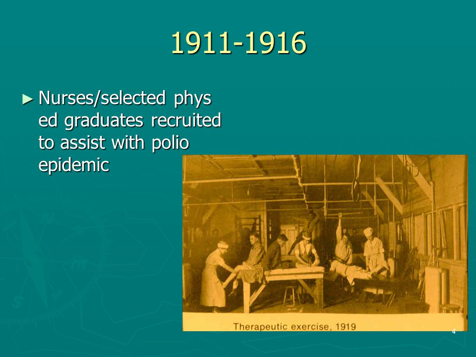 1911-1916 Nurses/selected phys ed graduates recruited to assist with polio epidemic