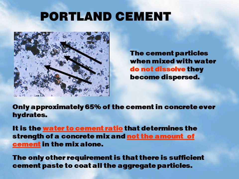 PORTLAND CEMENT Cement in its dry form is made up of discreet individual particles.