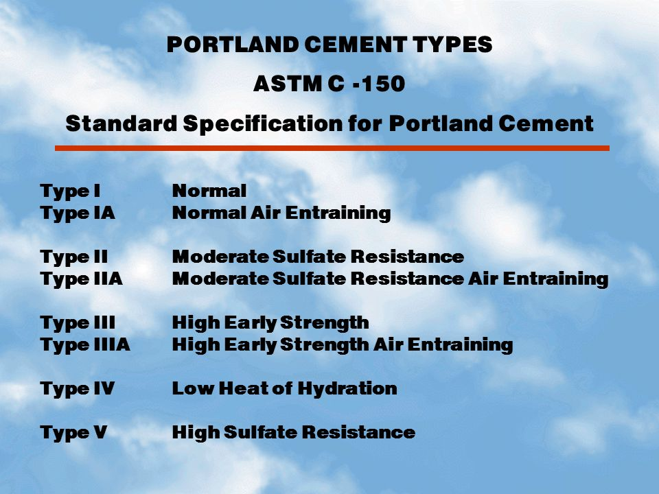 Standard Specification for Portland Cement