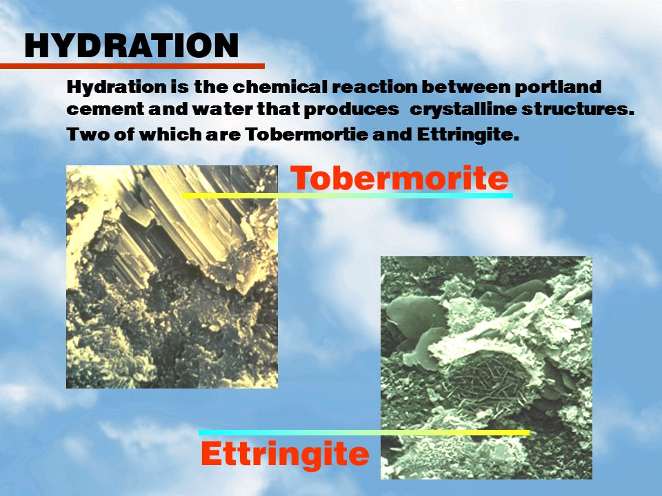 HYDRATION Tobermorite Ettringite