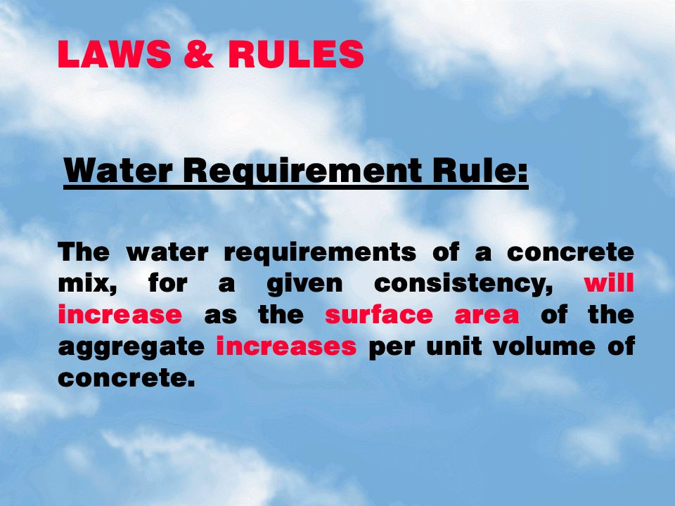 LAWS & RULES Water Requirement Rule: