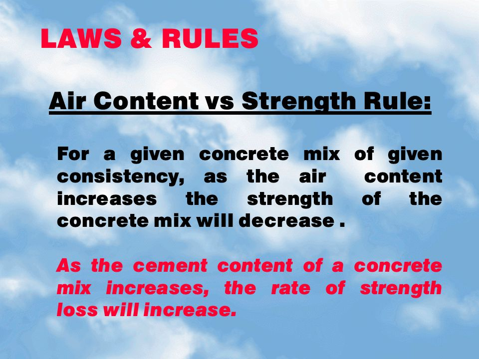 LAWS & RULES Air Content vs Strength Rule: