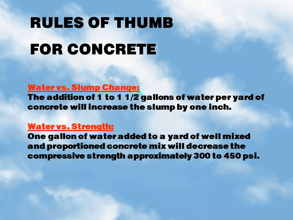 RULES OF THUMB FOR CONCRETE