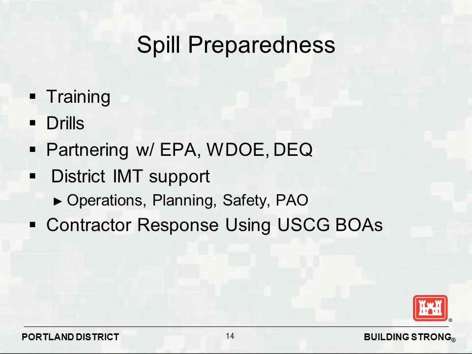 Spill Preparedness Training Drills Partnering w/ EPA, WDOE, DEQ