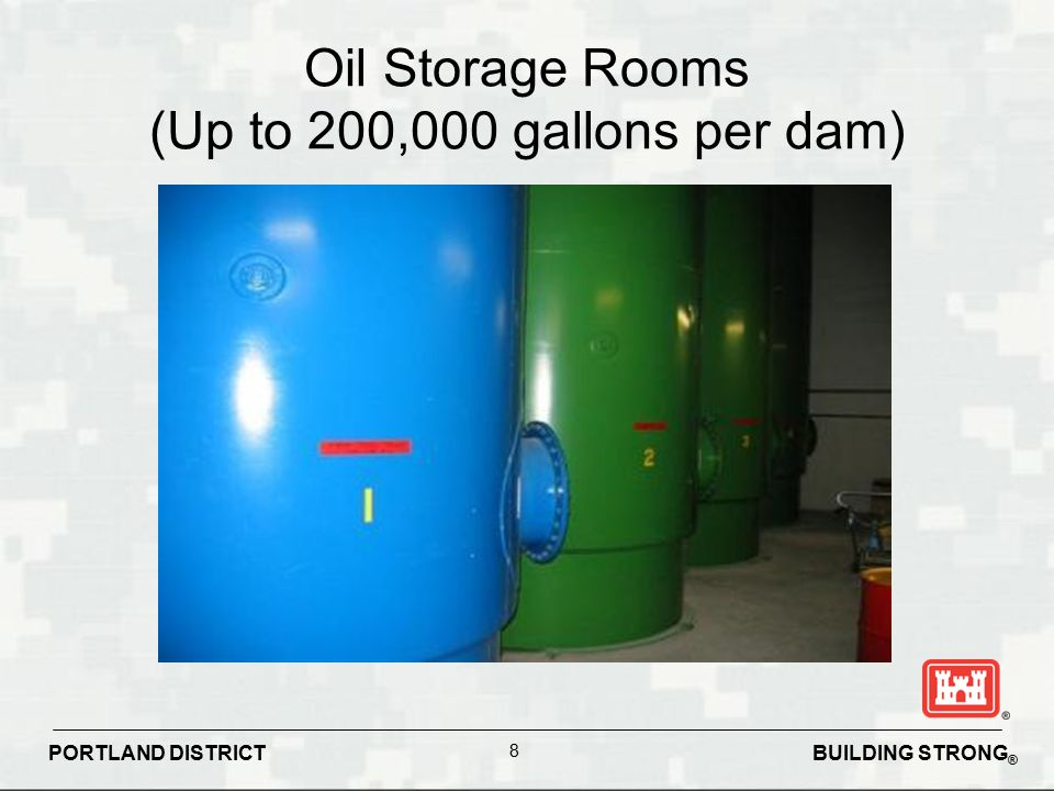 Oil Storage Rooms (Up to 200,000 gallons per dam)