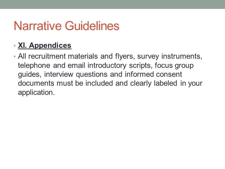 Narrative Guidelines XI. Appendices