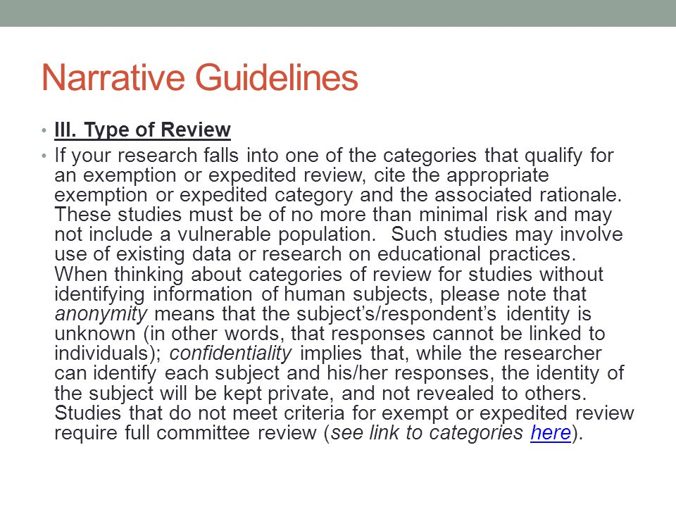 Narrative Guidelines III. Type of Review