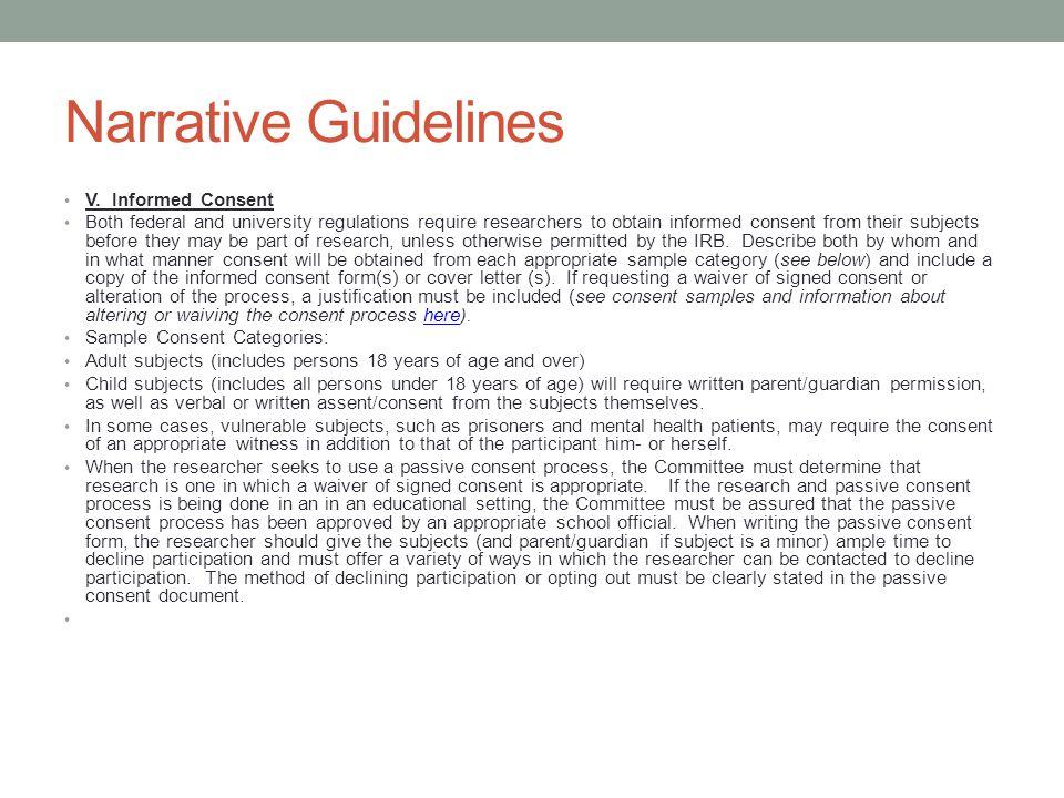 Narrative Guidelines V. Informed Consent