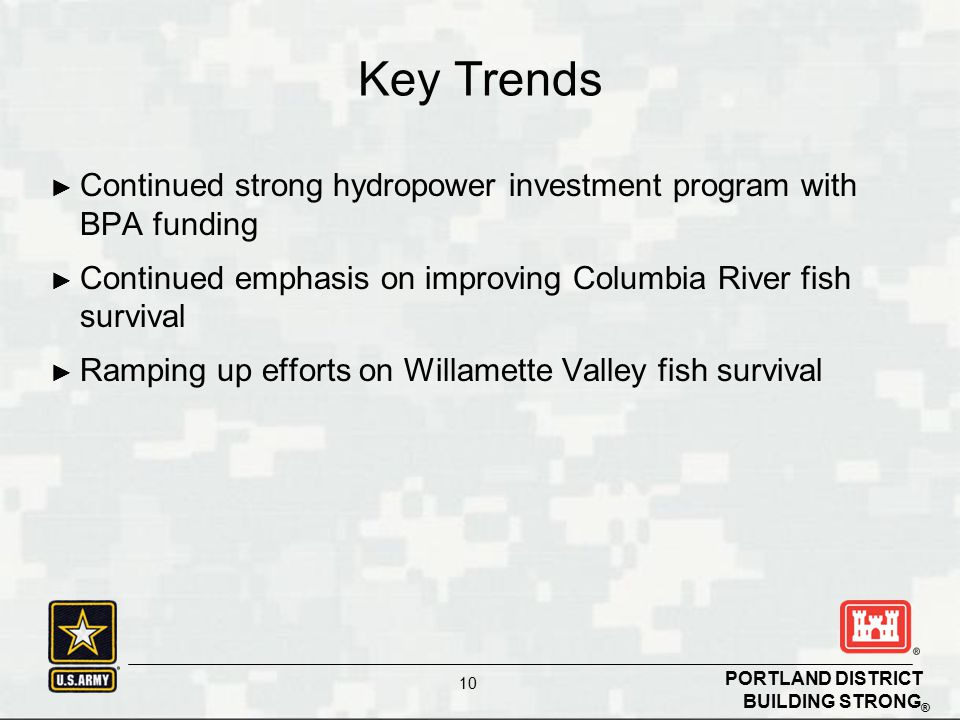 Key Trends Continued strong hydropower investment program with BPA funding. Continued emphasis on improving Columbia River fish survival.