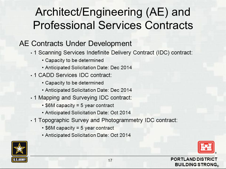 Architect/Engineering (AE) and Professional Services Contracts