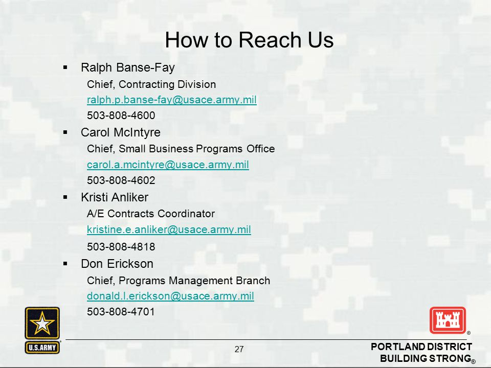 How to Reach Us Ralph Banse-Fay Carol McIntyre Kristi Anliker