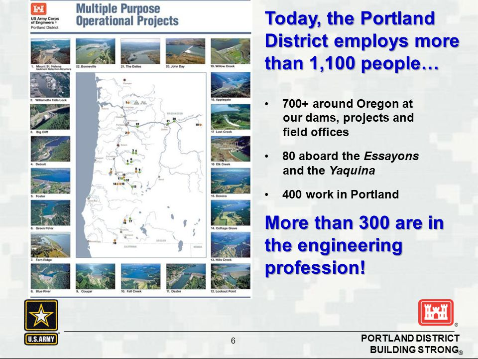 Today, the Portland District employs more than 1,100 people…