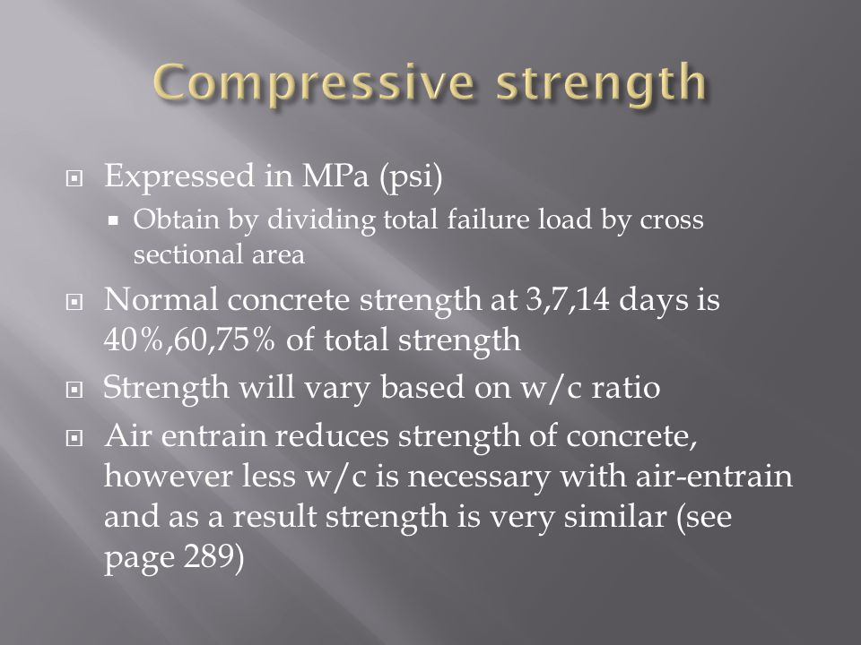 Compressive strength Expressed in MPa (psi)