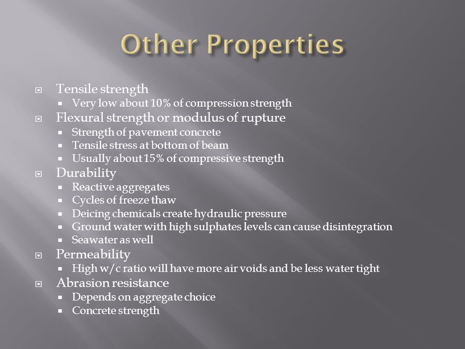 Other Properties Tensile strength