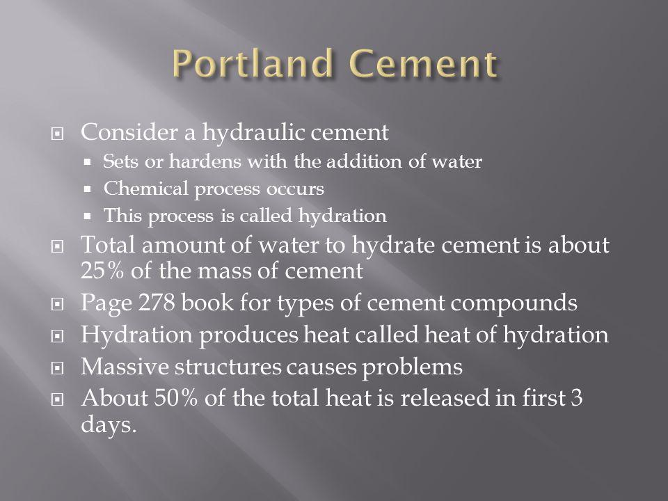 Portland Cement Consider a hydraulic cement
