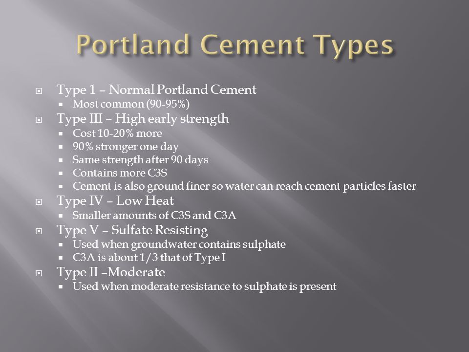 Portland Cement Types Type 1 – Normal Portland Cement