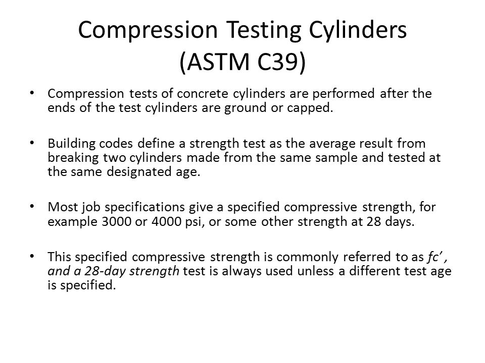 Compression Testing Cylinders (ASTM C39)