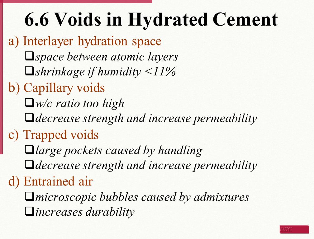 6.6 Voids in Hydrated Cement