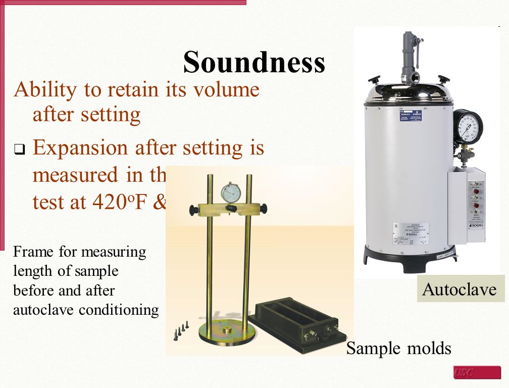 Soundness Ability to retain its volume after setting