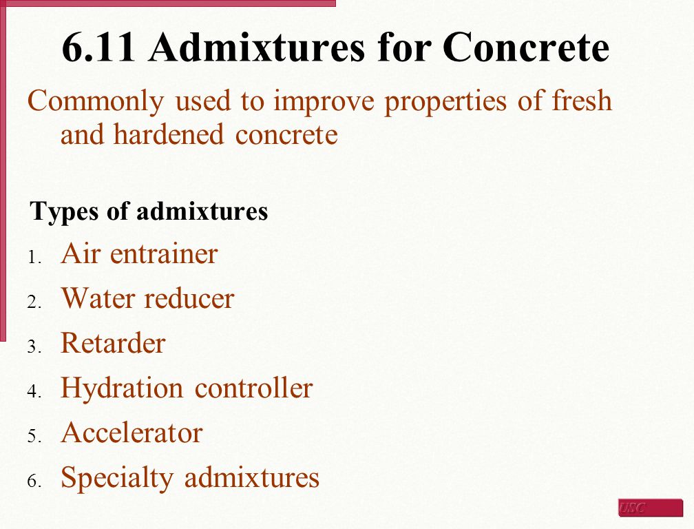 6.11 Admixtures for Concrete