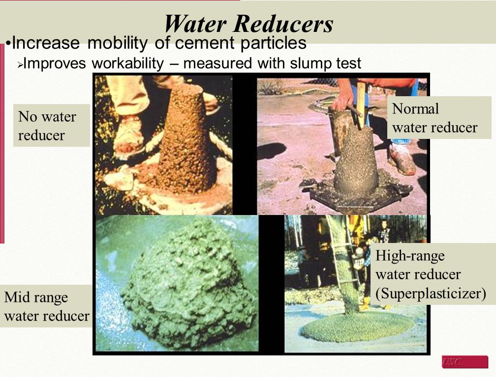 Water Reducers Increase mobility of cement particles