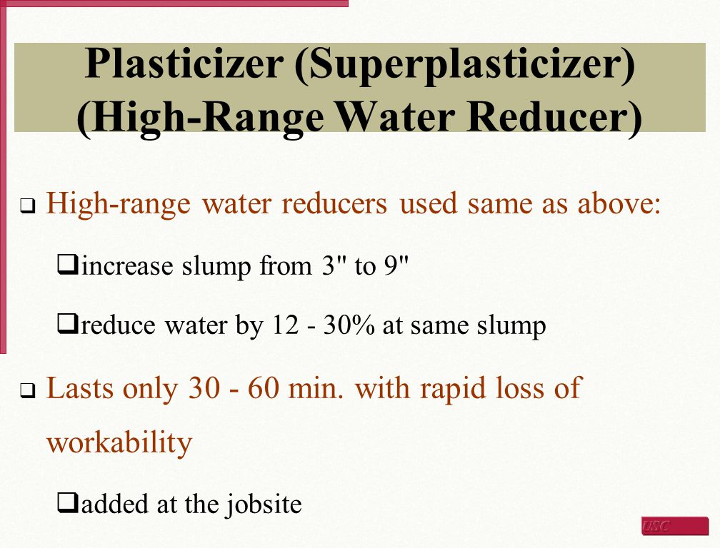 Plasticizer (Superplasticizer) (High-Range Water Reducer)