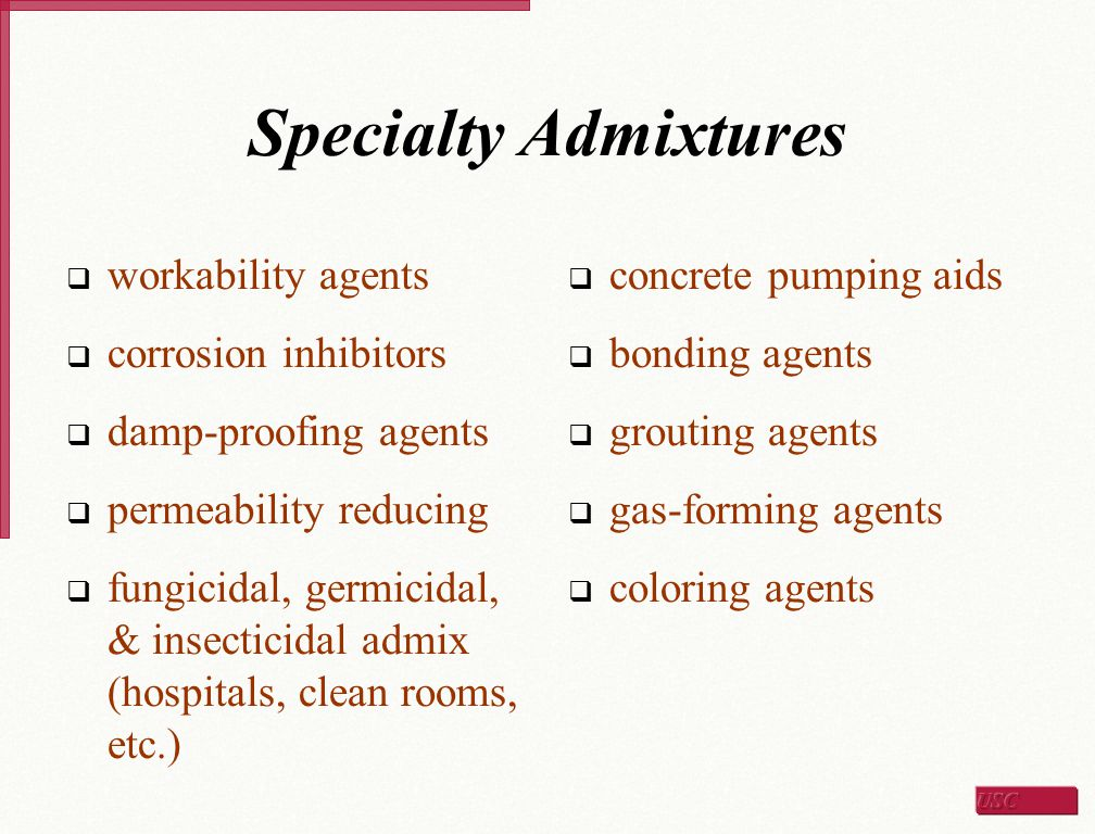 Specialty Admixtures workability agents corrosion inhibitors