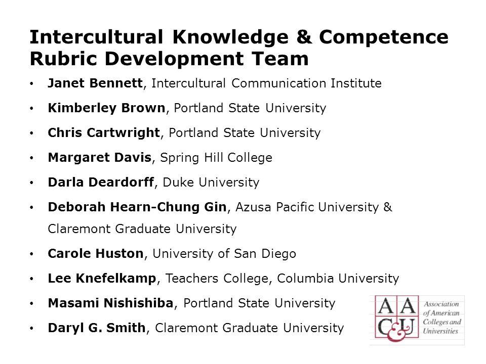 Intercultural Knowledge & Competence Rubric Development Team