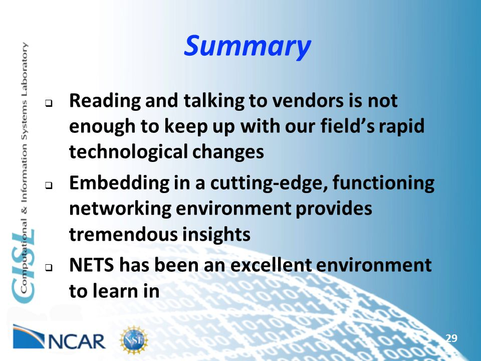 Summary Reading and talking to vendors is not enough to keep up with our field's rapid technological changes.