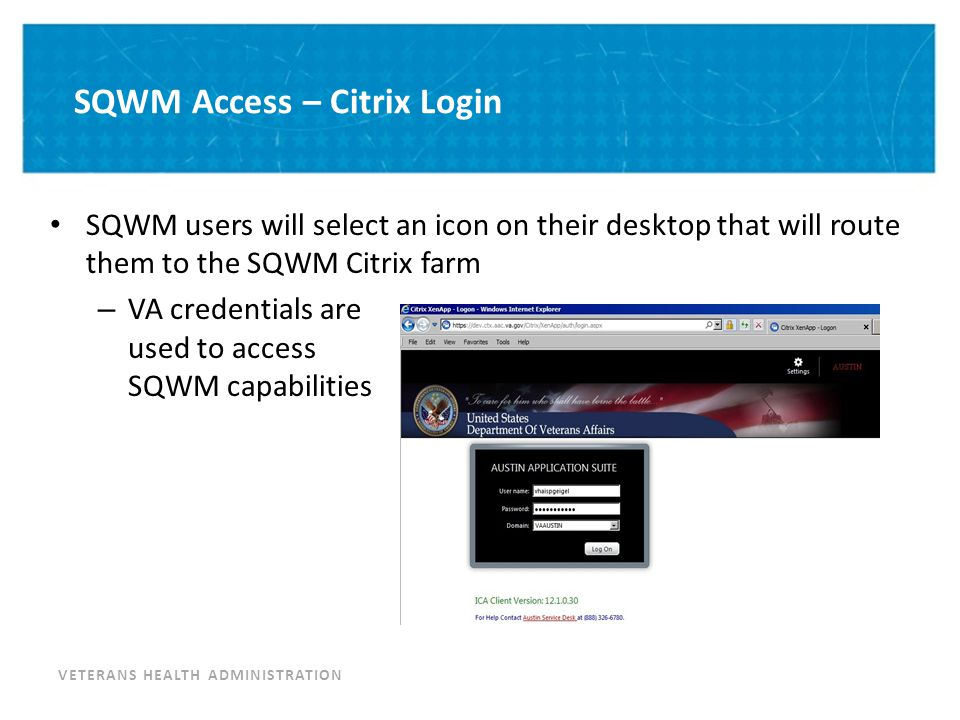 SQWM Access – Select Environment