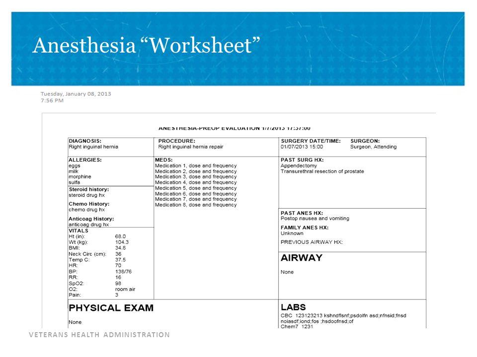 Anesthesia Worksheet
