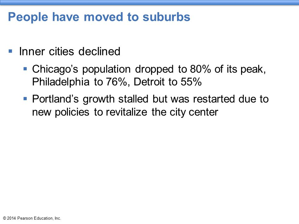 People have moved to suburbs