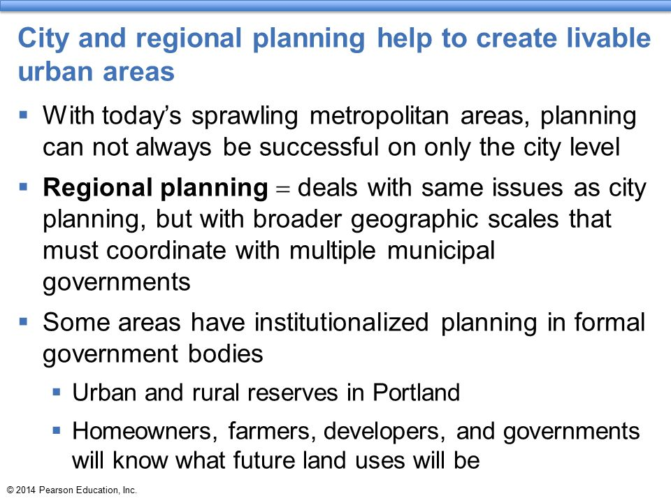 City and regional planning help to create livable urban areas