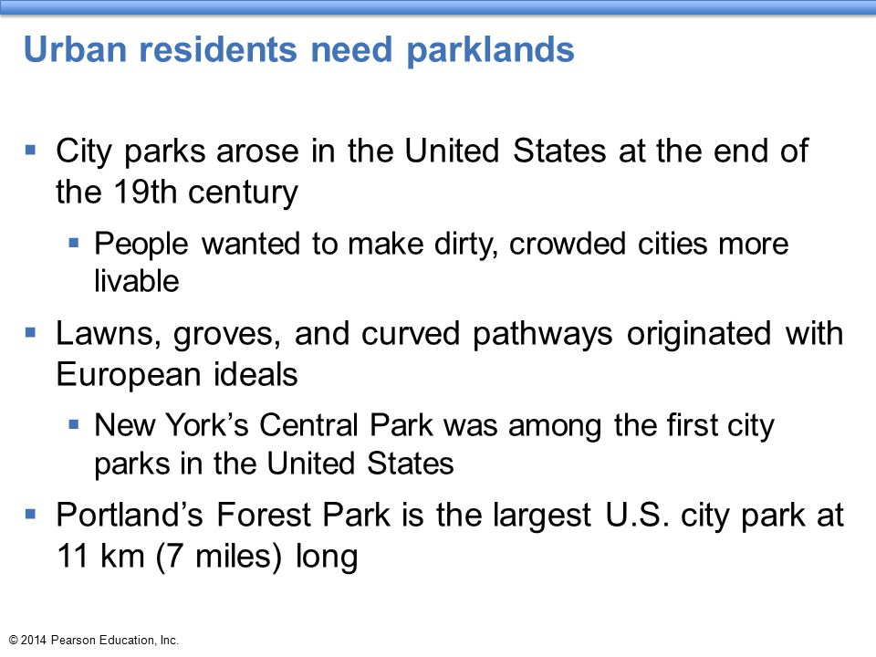 Urban residents need parklands