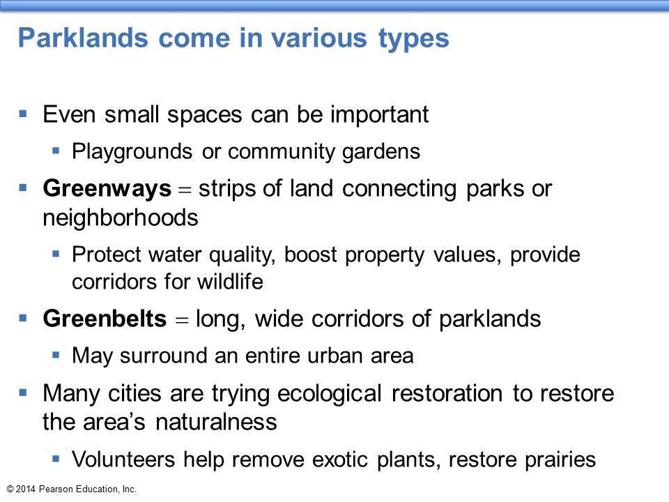 Parklands come in various types