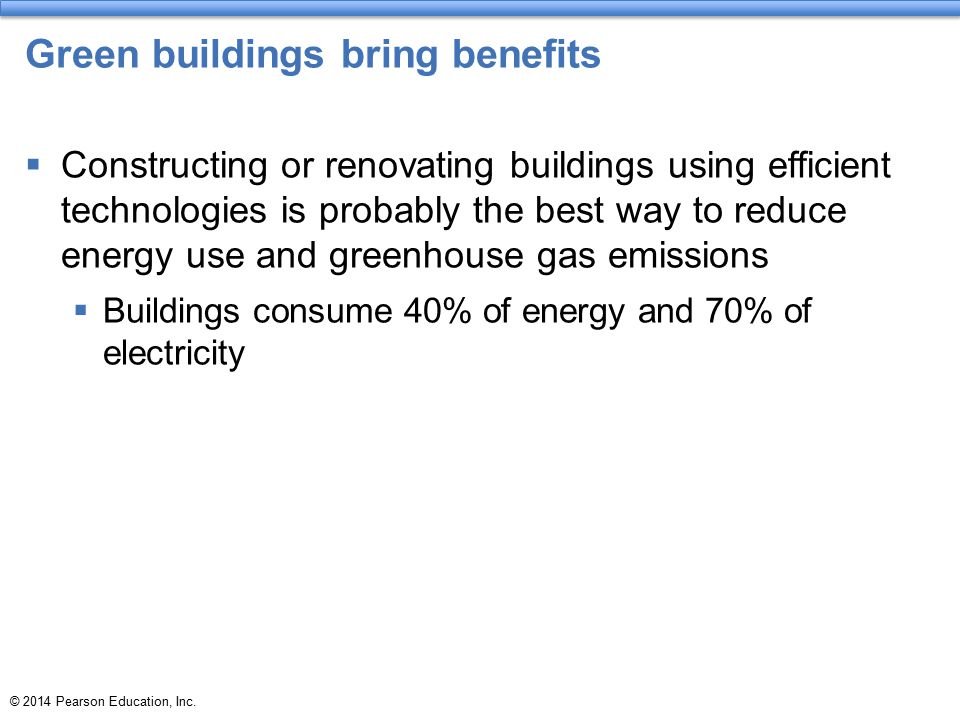 Green buildings bring benefits