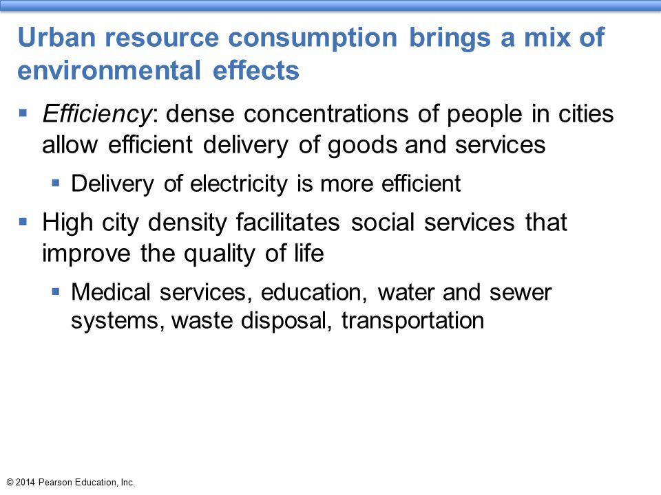 Urban resource consumption brings a mix of environmental effects