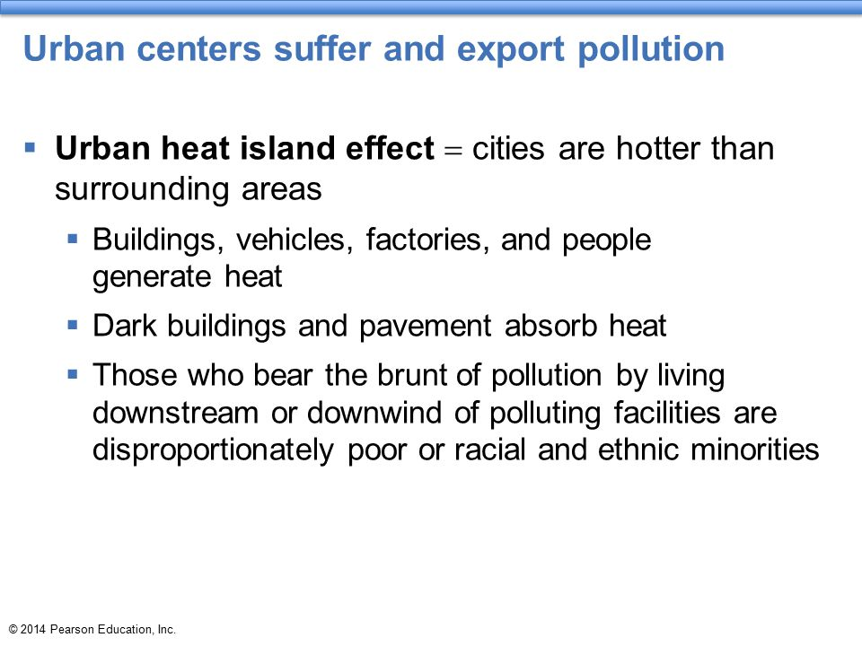 Urban centers suffer and export pollution