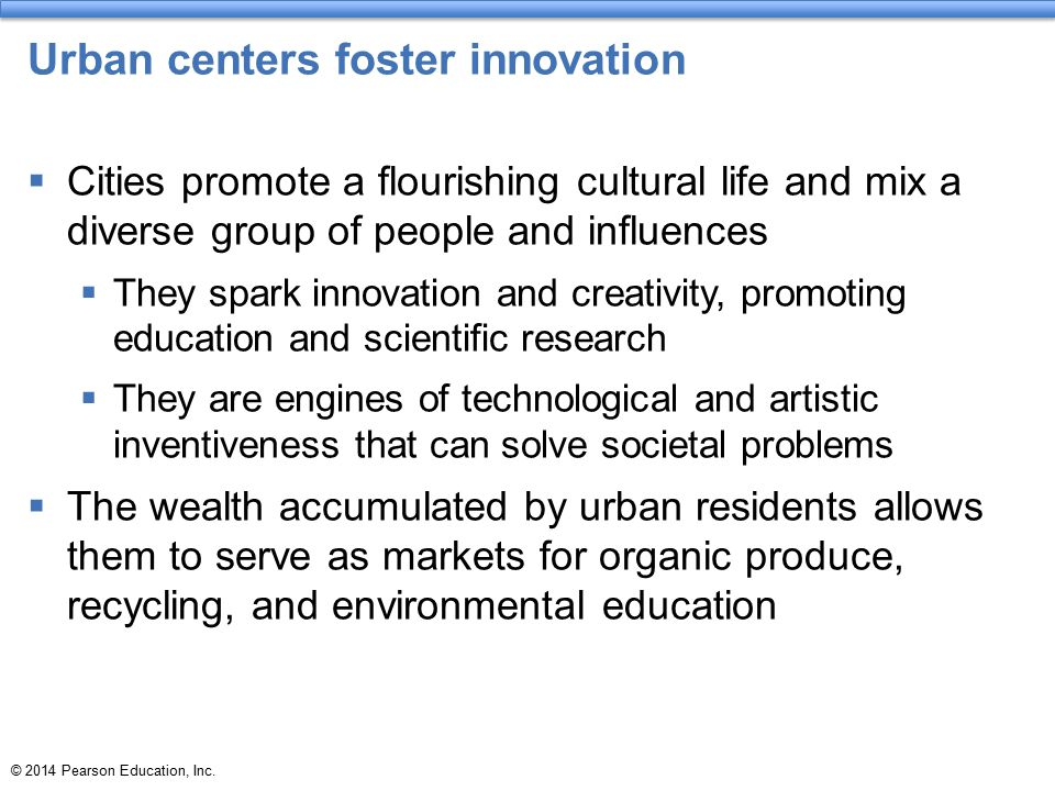 Urban centers foster innovation