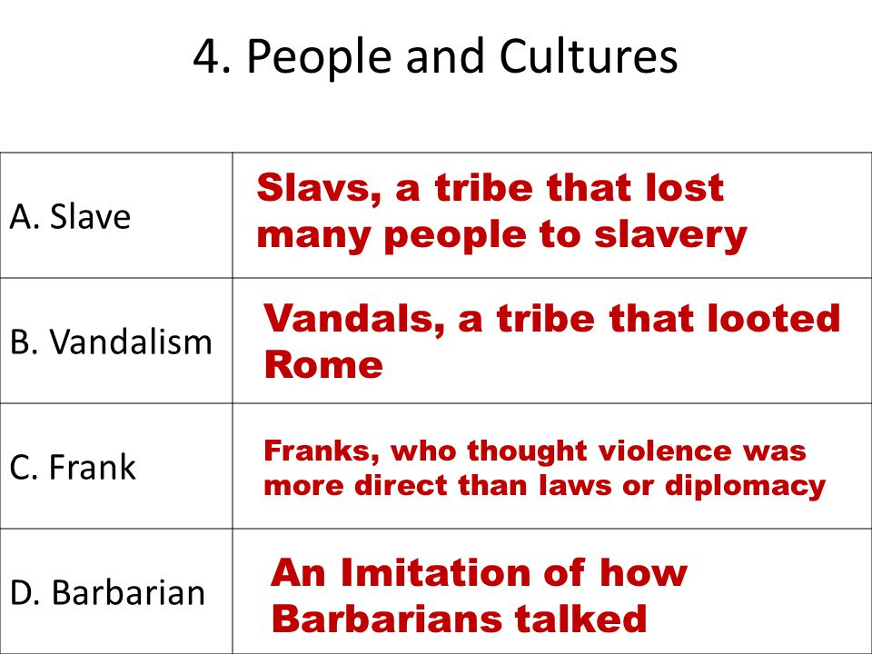 4. People and Cultures A. Slave B. Vandalism Slavs, a tribe that lost