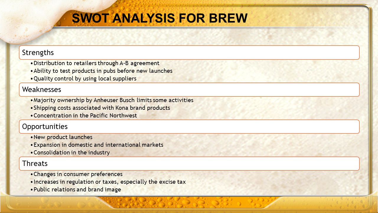 SWOT ANALYSIS FOR BREW Strengths Weaknesses Opportunities Threats