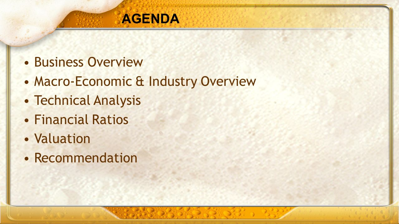 AGENDA Business Overview. Macro-Economic & Industry Overview. Technical Analysis. Financial Ratios.