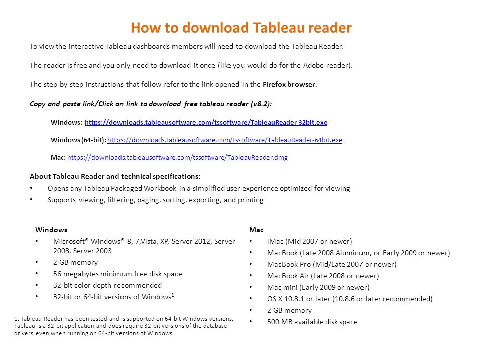 How to download Tableau reader