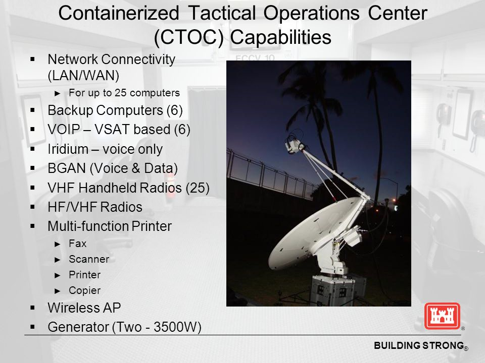 Containerized Tactical Operations Center (CTOC) Capabilities