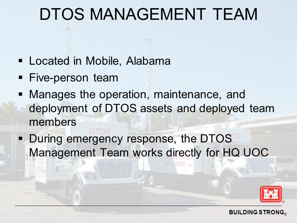 DTOS MANAGEMENT TEAM Located in Mobile, Alabama Five-person team
