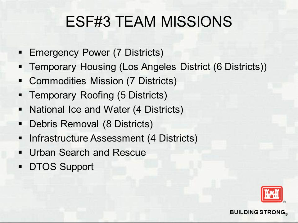 ESF#3 TEAM MISSIONS Emergency Power (7 Districts)