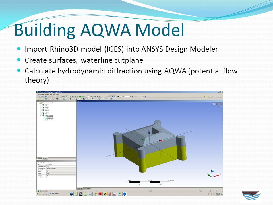 Building AQWA Model Import Rhino3D model (IGES) into ANSYS Design Modeler. Create surfaces, waterline cutplane.