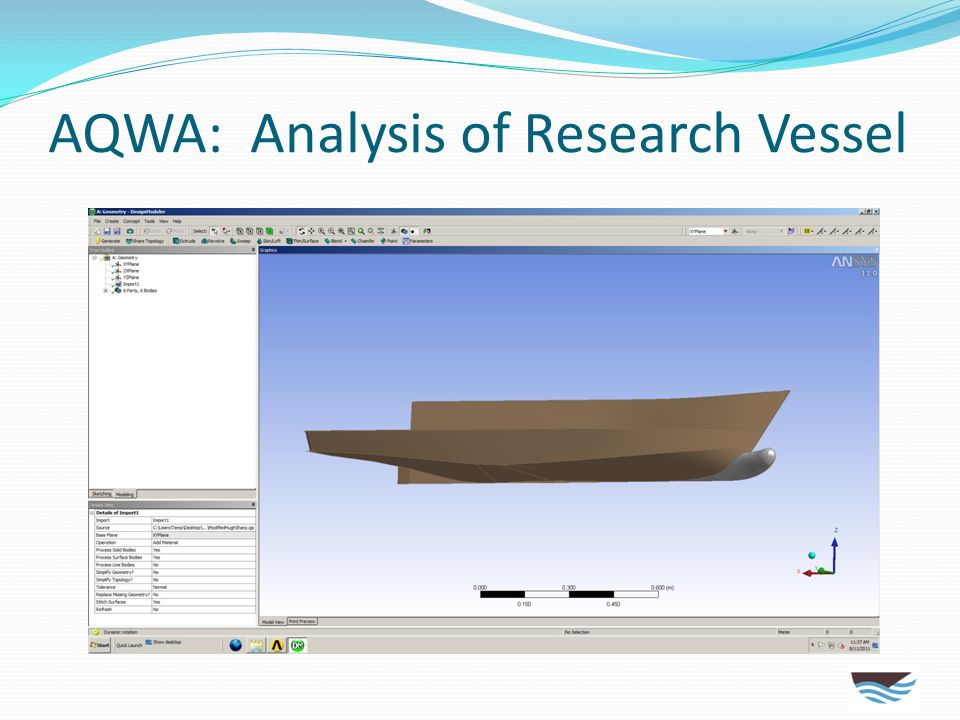 AQWA: Analysis of Research Vessel