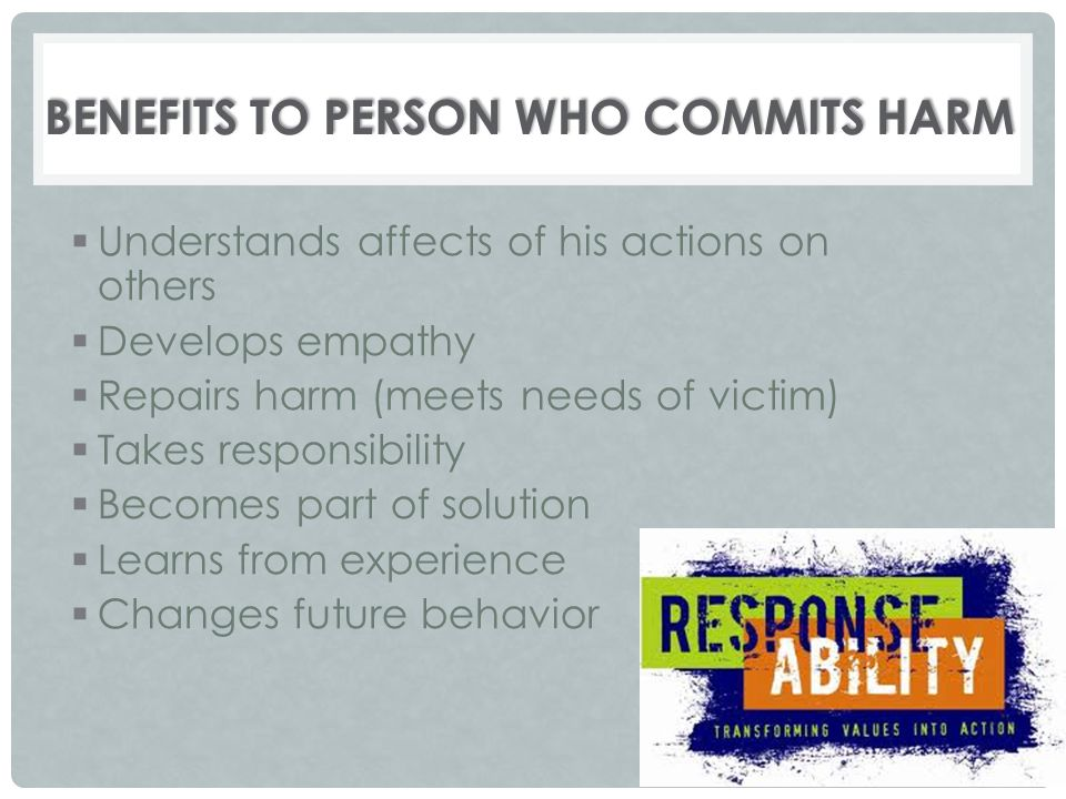 Benefits to Person Who Commits Harm
