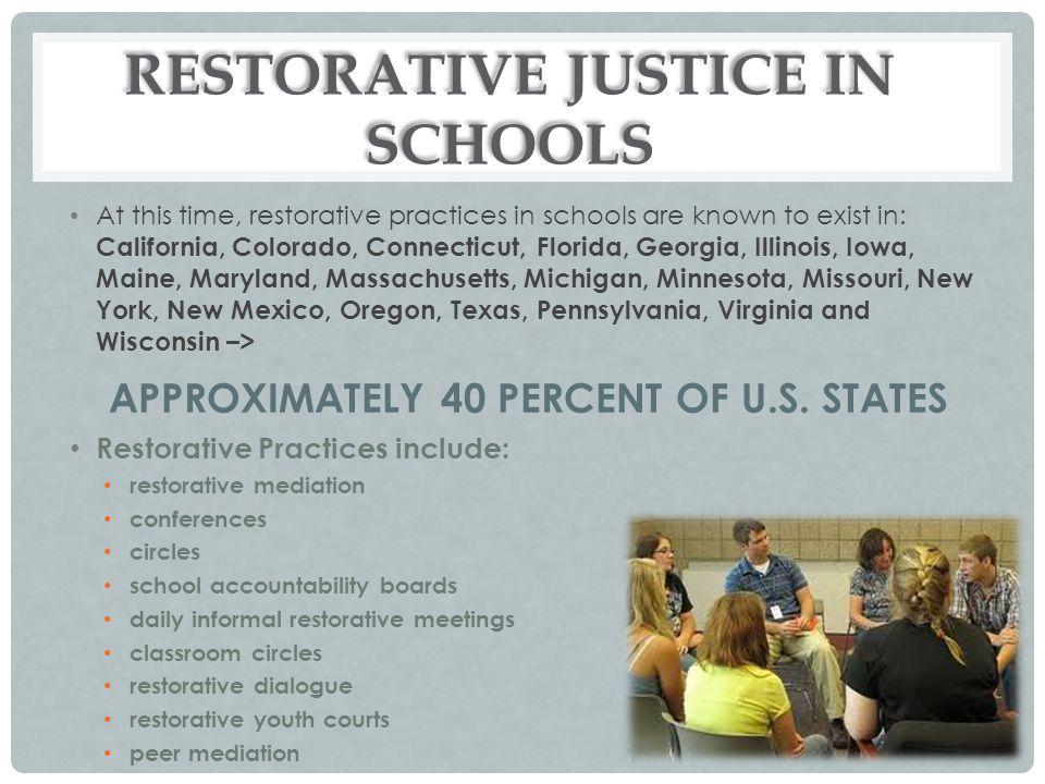 RESTORATIVE JUSTICE IN SCHOOLS